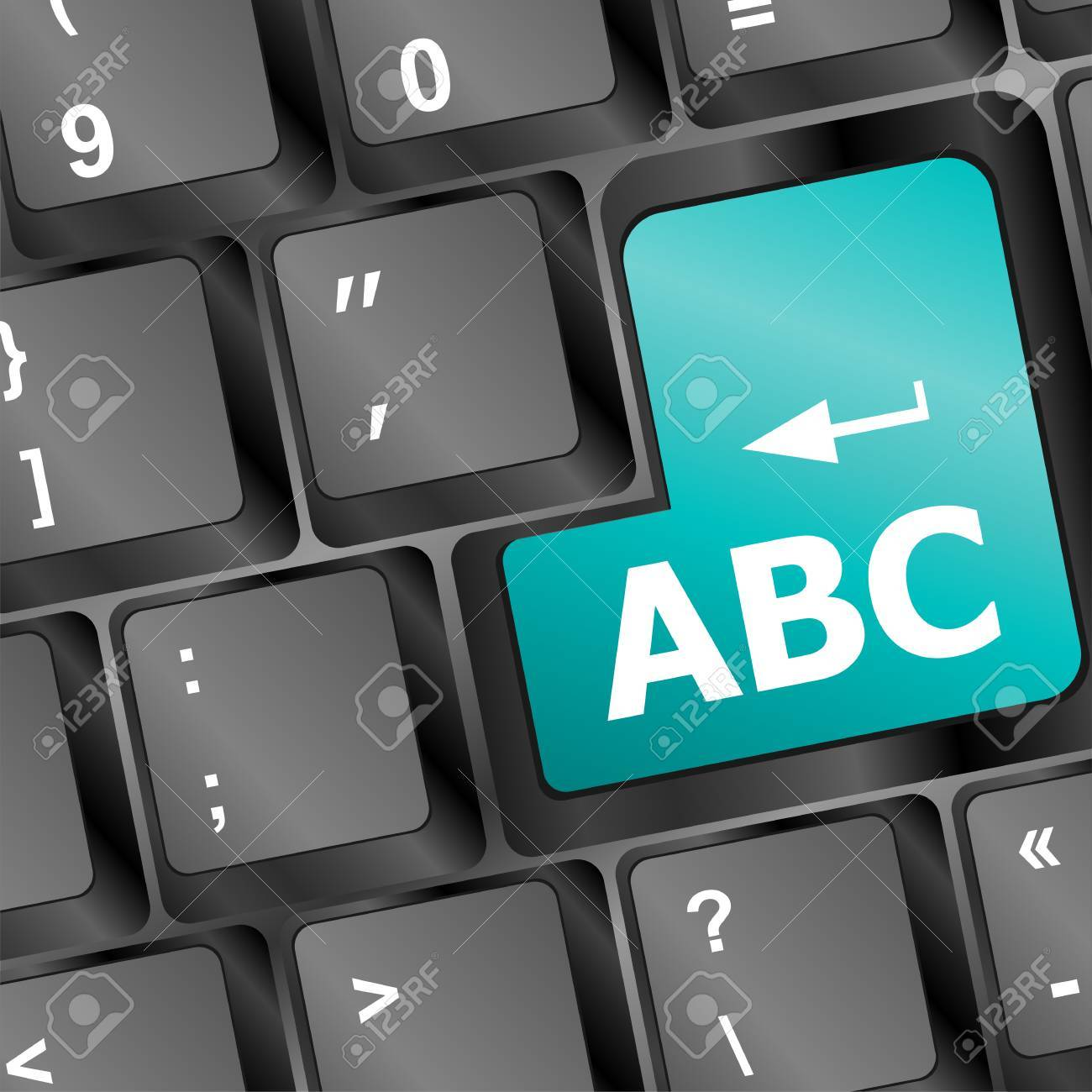 computer keyboard with abc button - social concept Stock Photo - 16525622