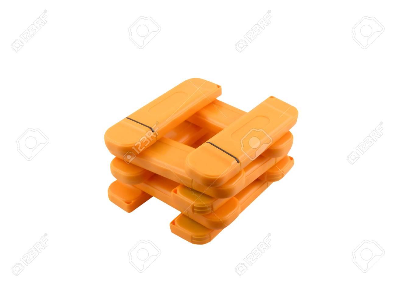 Usb flash memory set isolated on white background Stock Photo - 17062647