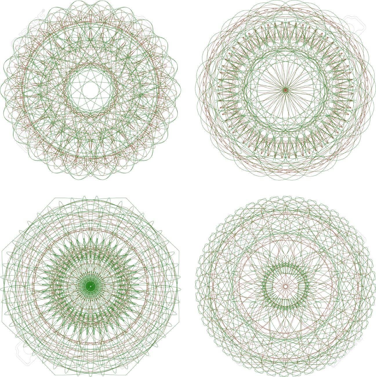 abstract green guilloche circle pattern, mandala set Stock Photo - 17166255