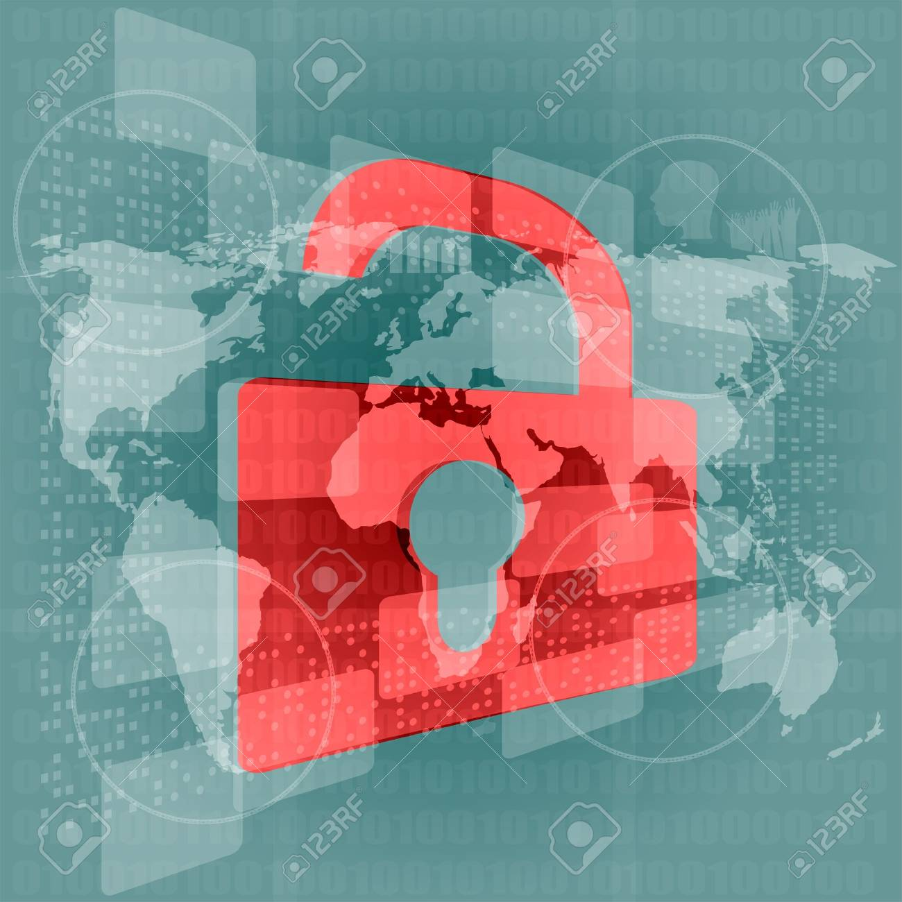 Security concept: Lock on digital screen, contrast Stock Photo - 17432499