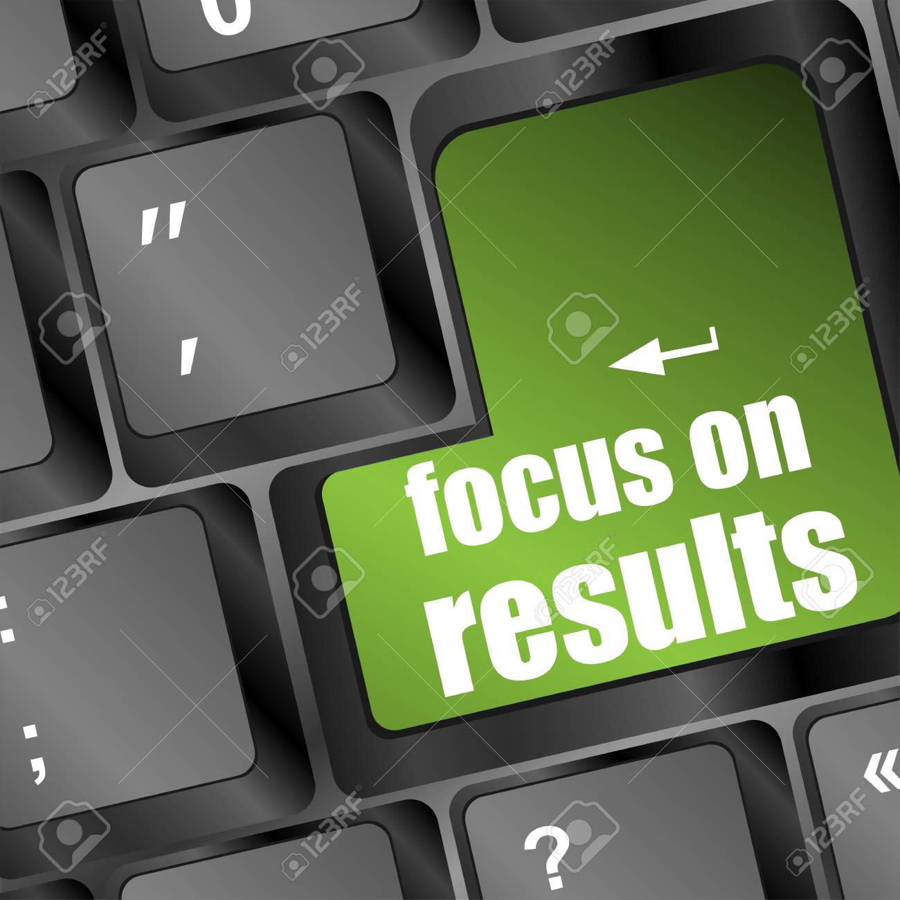 Modern keyboard focus on results text. Technology concept Stock Photo - 17598520