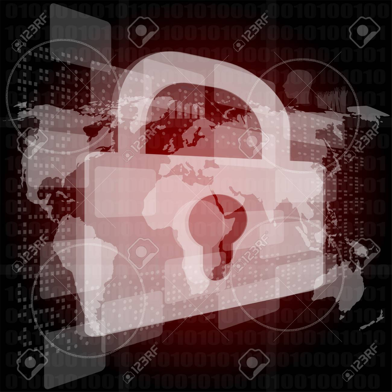 Security concept: Lock on digital screen, contrast Stock Photo - 17598486