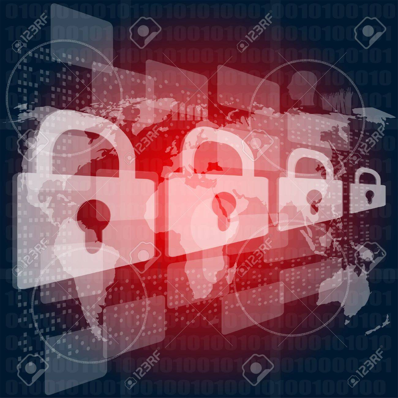 Security concept: Lock on digital screen, contrast Stock Photo - 17598467