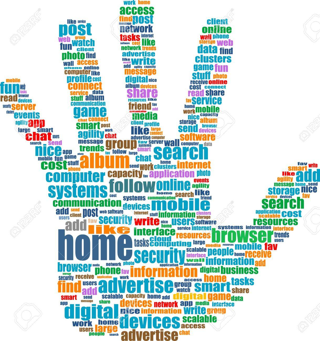 Like hand symbol with tag cloud of social word Stock Photo - 17598483