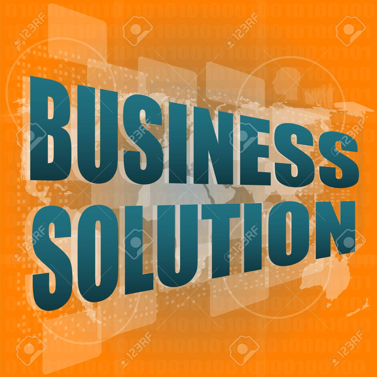 words business solution on digital screen, business concept Stock Photo - 17658547