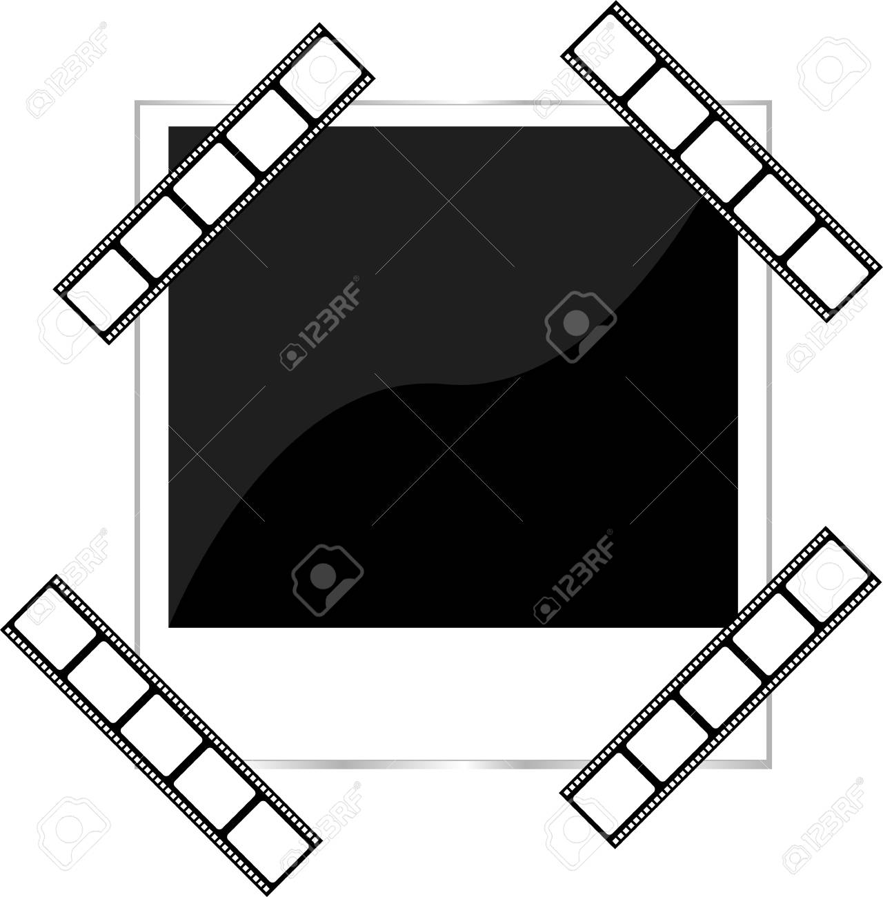 blank film strip and photo frame isolated on white Stock Photo - 17658503