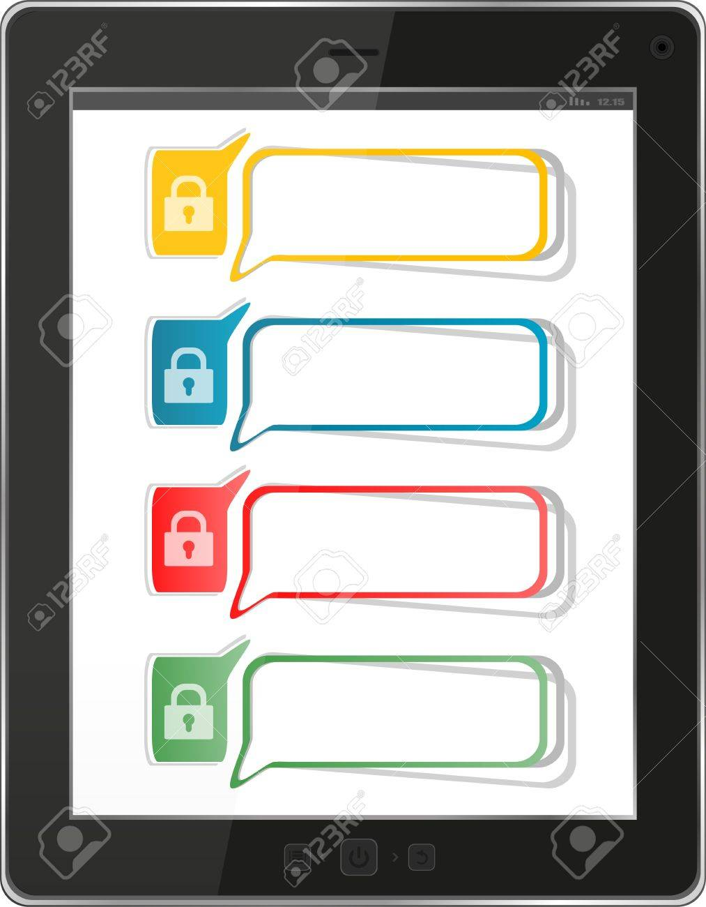 security and antivirus protection concept: black glossy tablet pc isolated on white background Stock Photo - 17654555