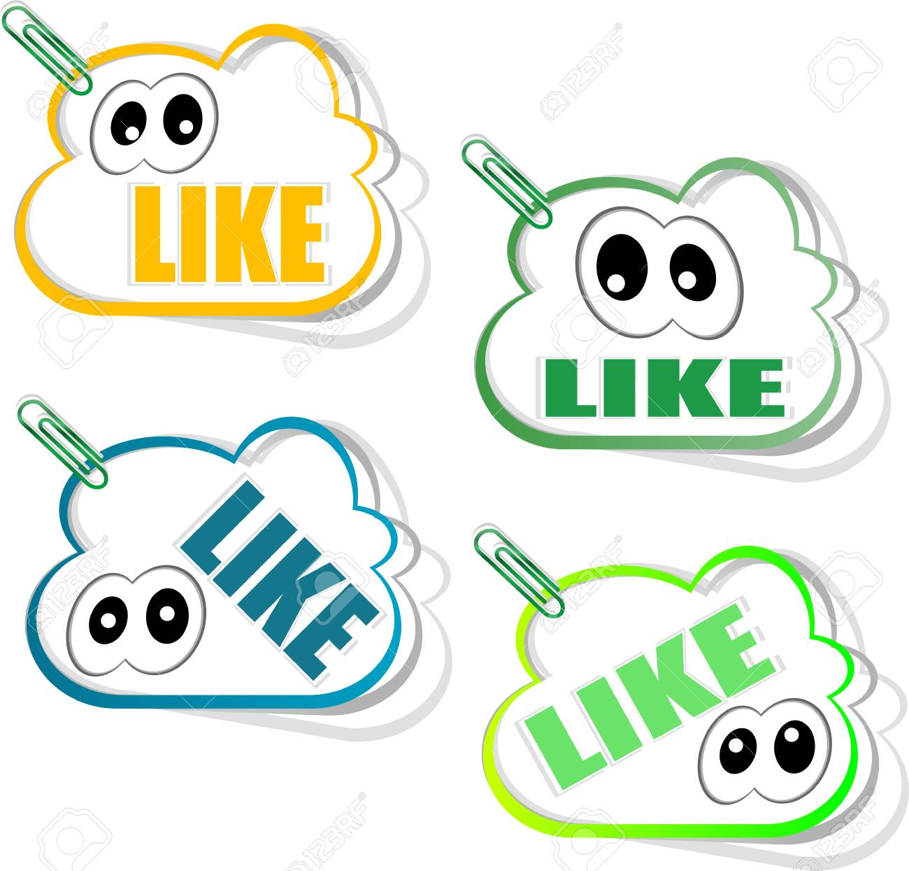 Set social media sticker with like icon and eyes, isolated on white Stock Photo - 17654600