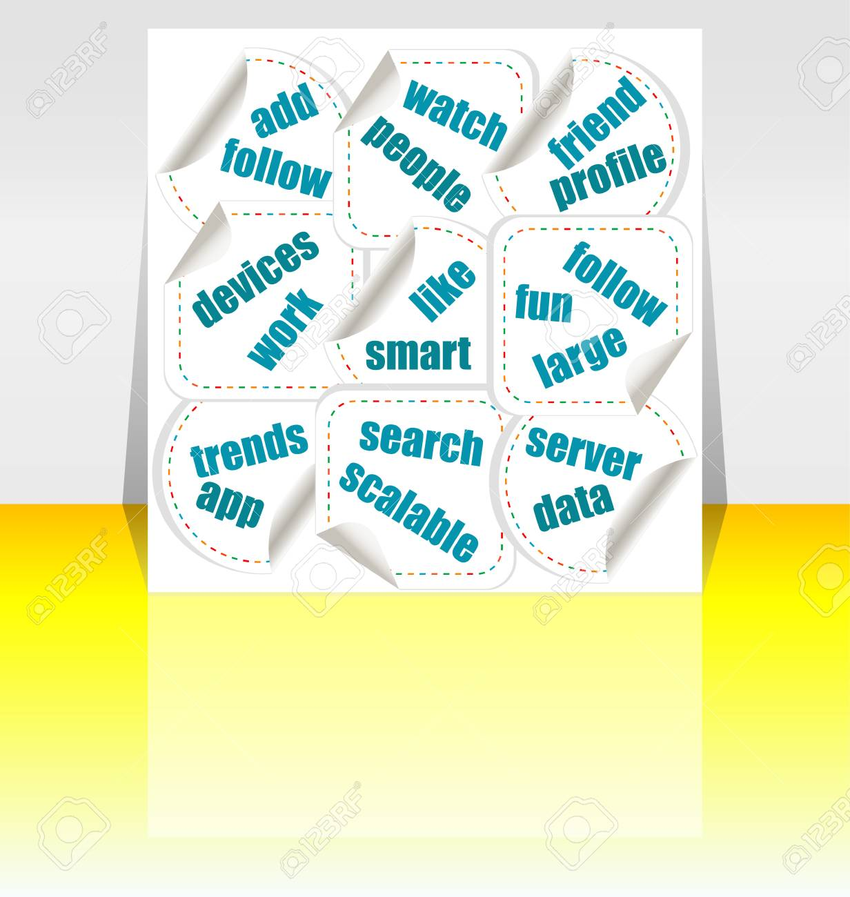 Social media concept stickers Stock Photo - 17654588