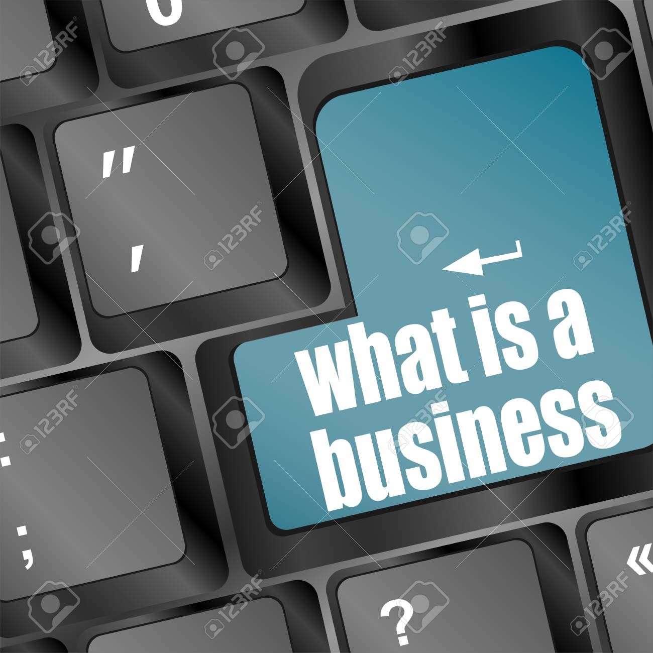 blue key with business word on laptop keyboard - what is a business Stock Photo - 17781218