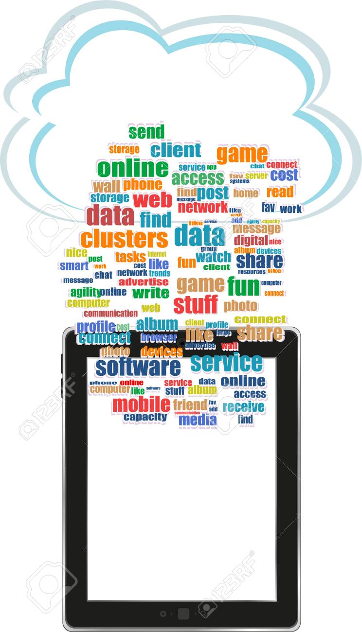 Digital tablet with mobile technology tag cloud concept on screen Stock Photo - 17782274