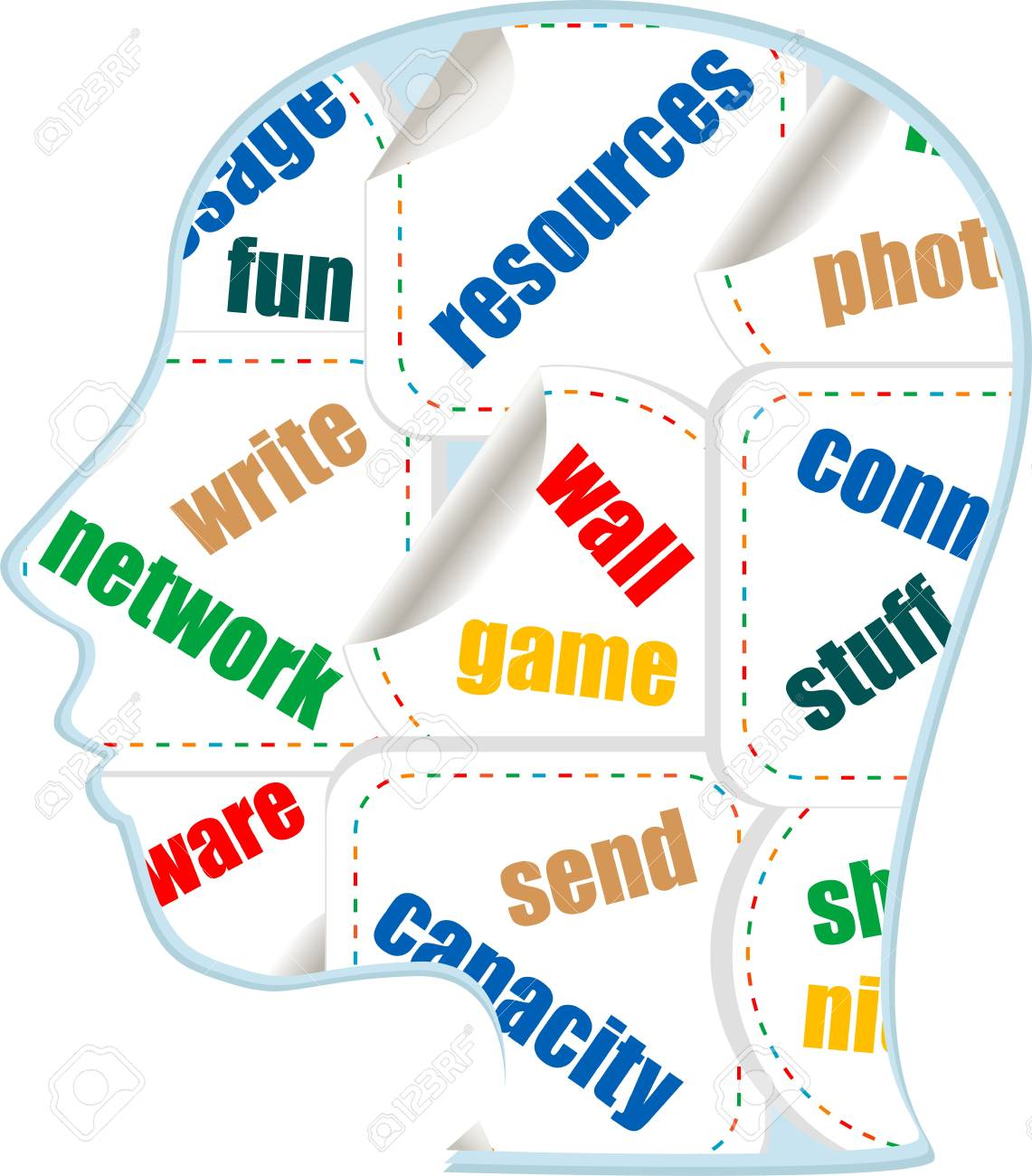 the silhouette of his head with the words on the topic of social networking Stock Photo - 17782518