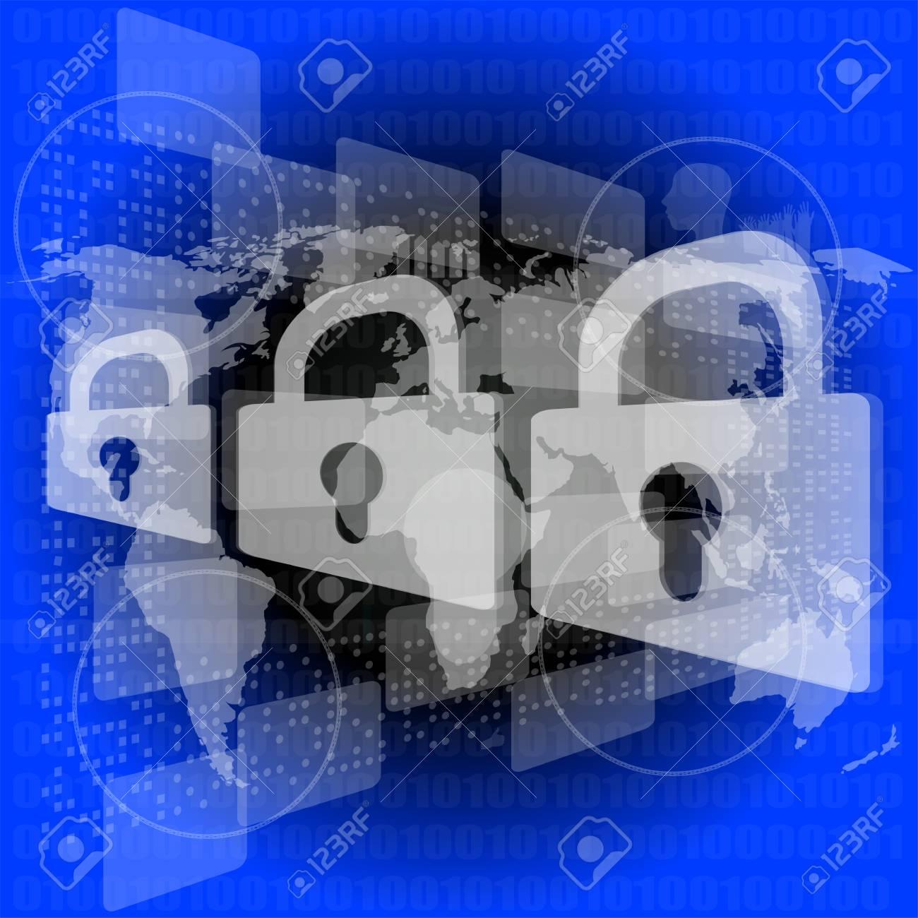Security concept: Lock on digital screen Stock Photo - 17782555