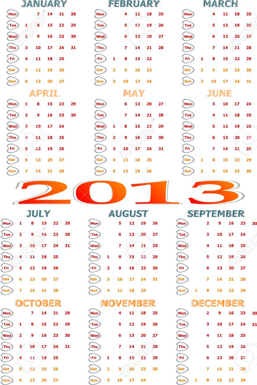 simple 2013 year calendar stock photo picture and royalty free