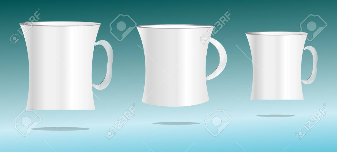white cup set on abstract 3d background Stock Photo - 17915425