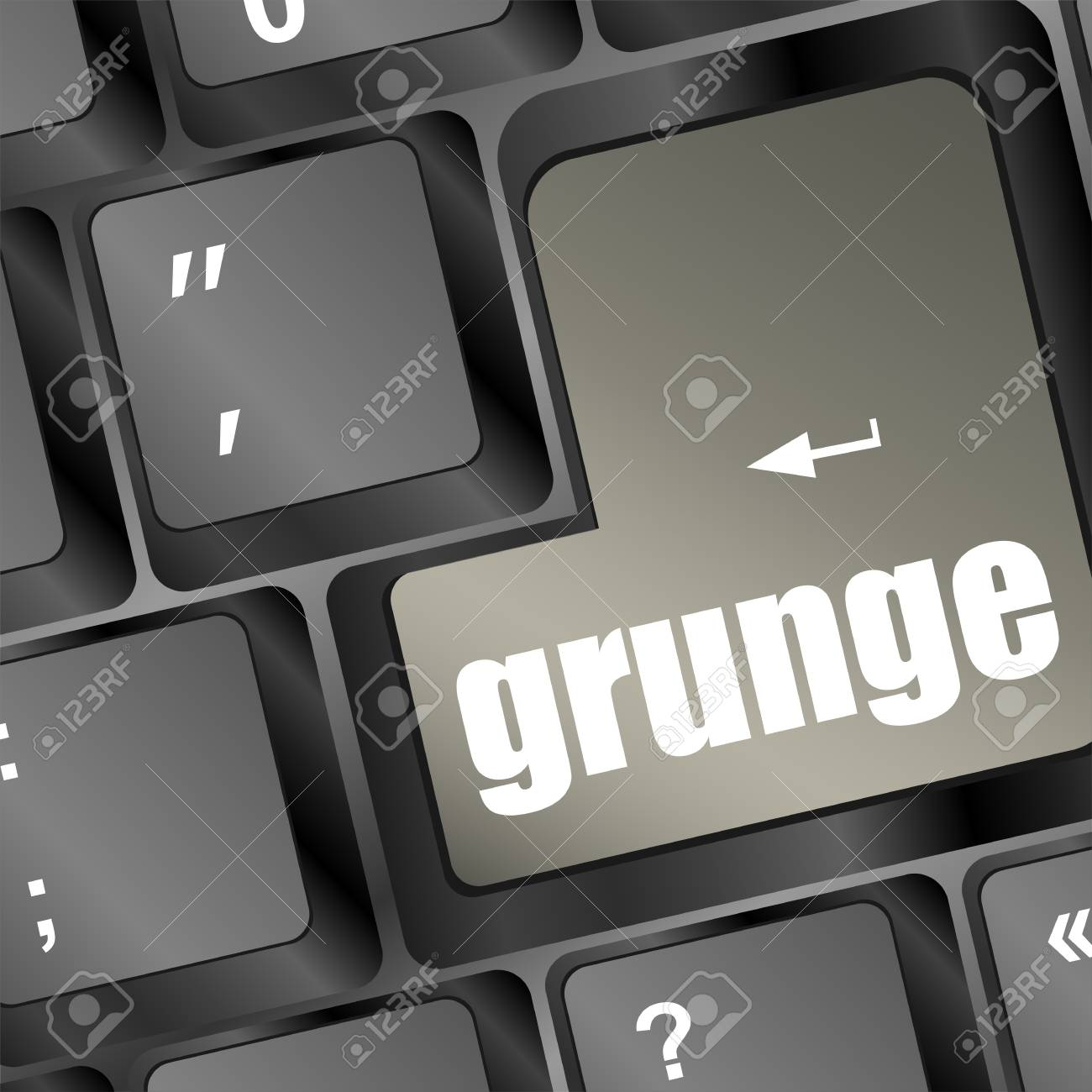 Computer keyboard with grunge word on enter button Stock Photo - 18075945