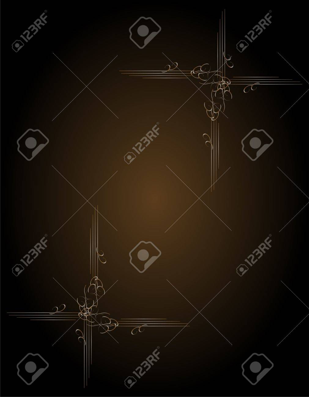 Royal Gold Picture Frame On The Dark Wallpaper Stock Photo