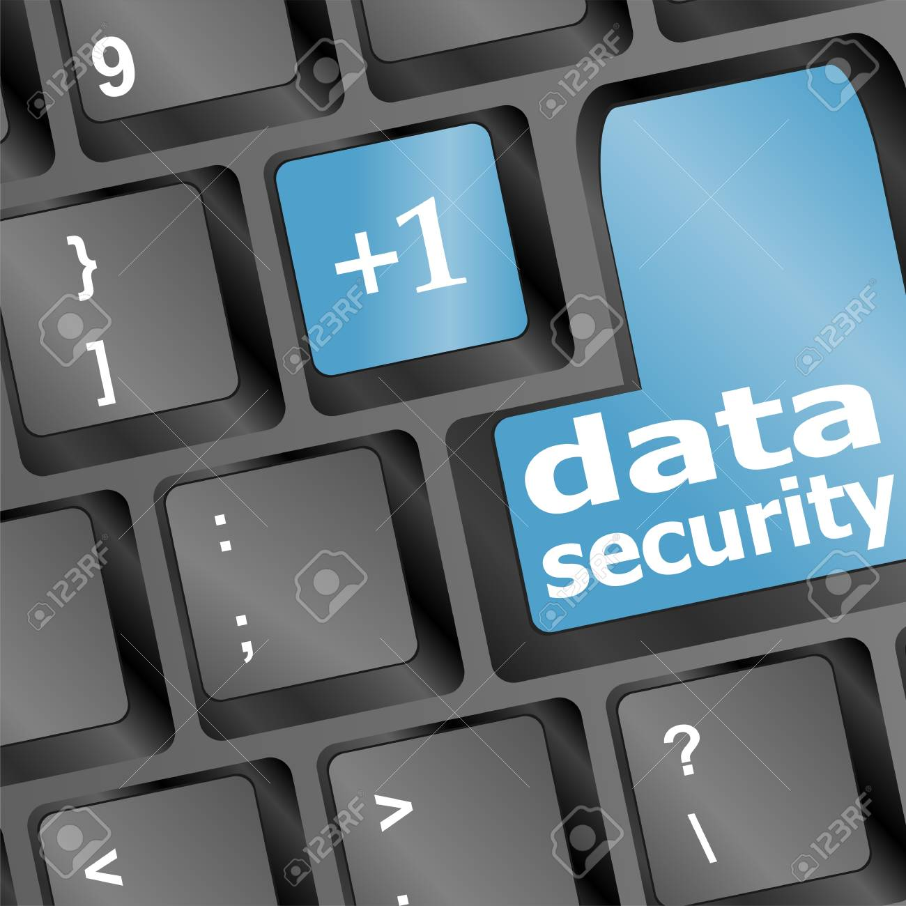 Close up view on conceptual keyboard - data security Stock Photo - 18409021