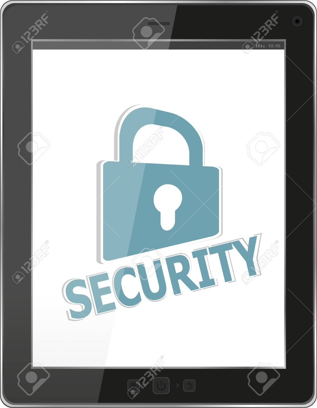 Data protection concept: tablet PC with chains and lock isolated on white background Stock Photo - 18419325