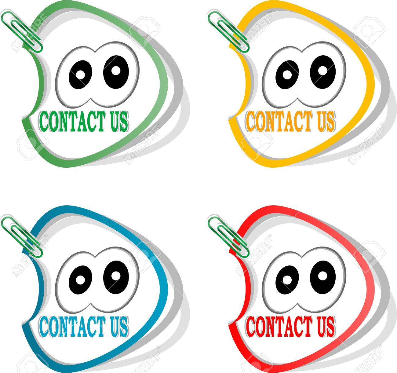Contact us labels and cute cartoon eyes stickers for the web page stock photo