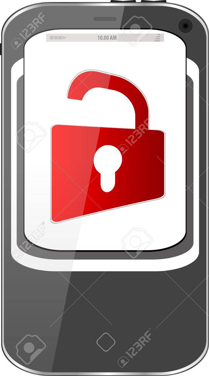 unlocked smartphone with red padlock isolated on white background Stock Photo - 18643912