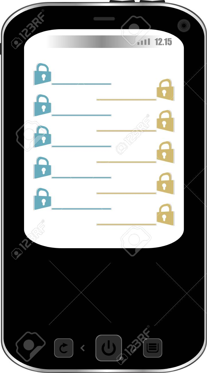 phone with padlock set on display. Mobile security concept. Isolated Stock Photo - 19126203