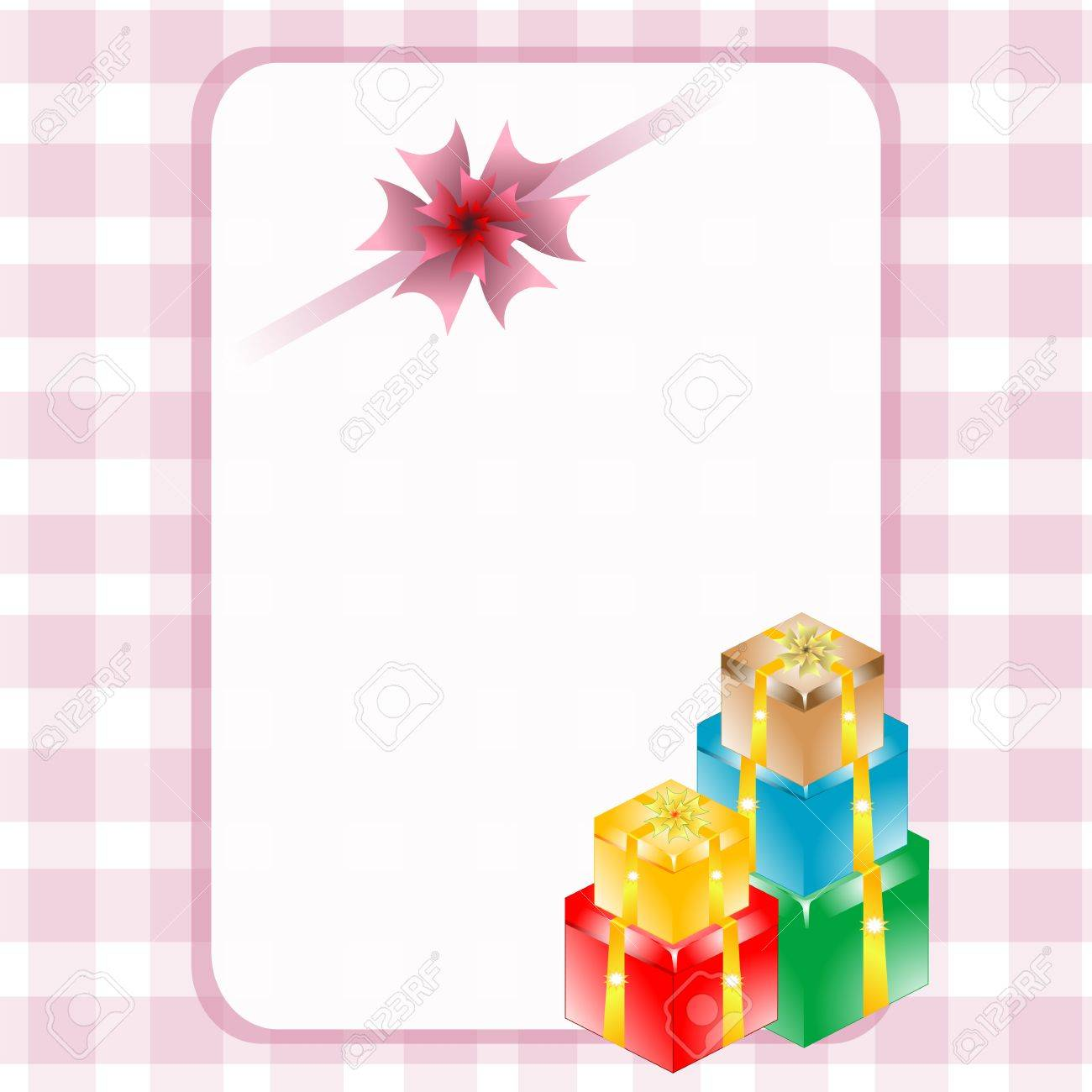 Gift boxes with empty frame, christmas or holiday invitation card Stock Photo - 19126210