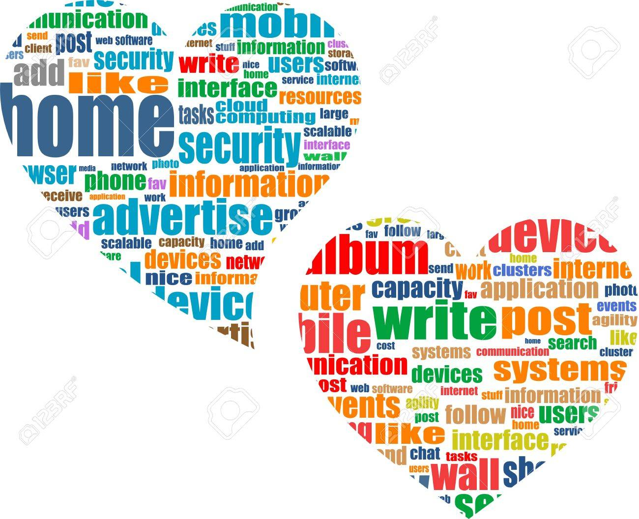 Social media business concept in love heart Stock Photo - 19336234