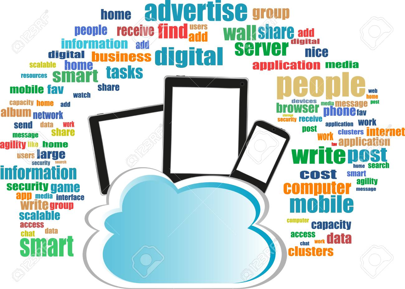 Cloud computing connection on digital tablet pc and modern smart phone Stock Photo - 19336229