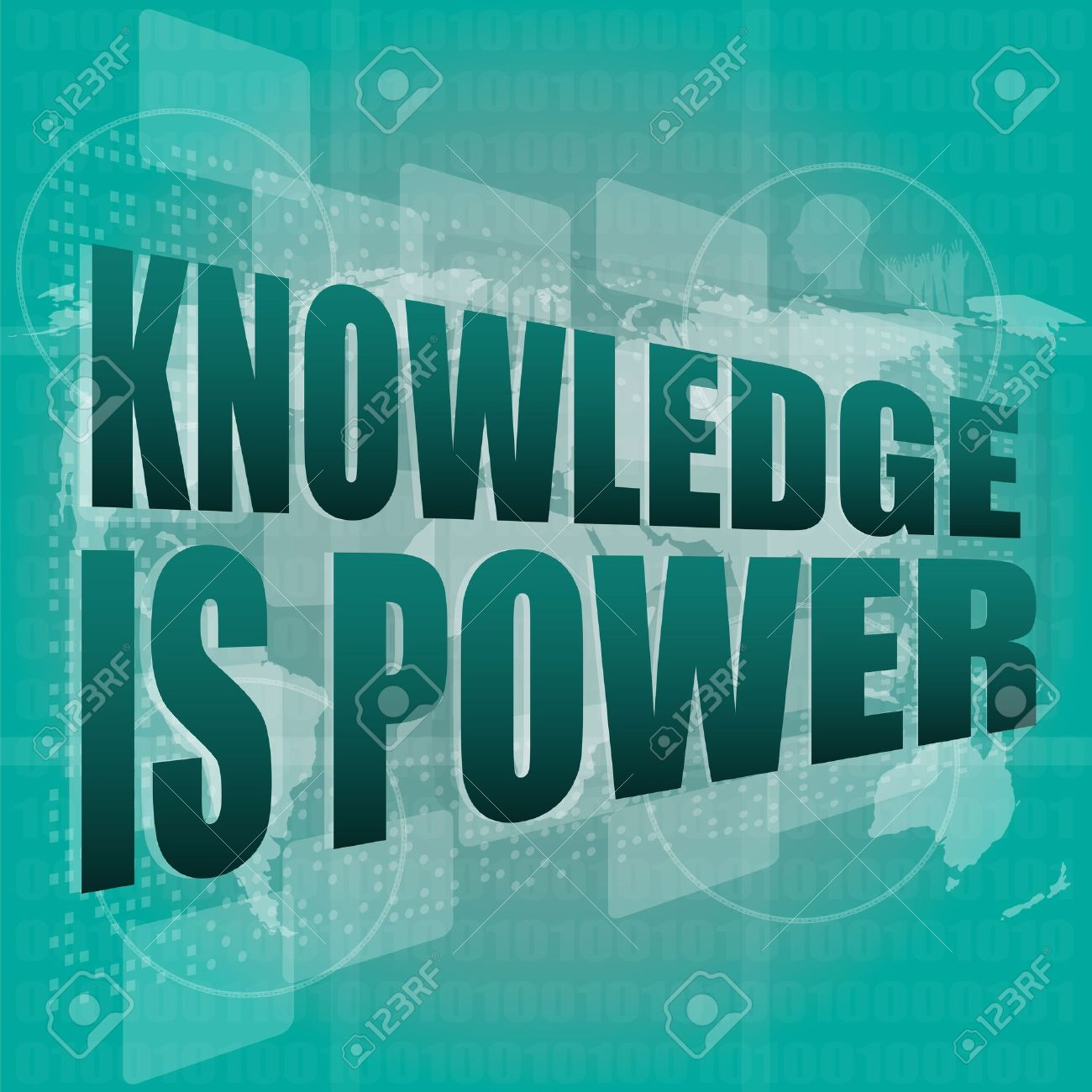 Education and learn concept: words knowledge is power on digital screen, 3d - 19336374
