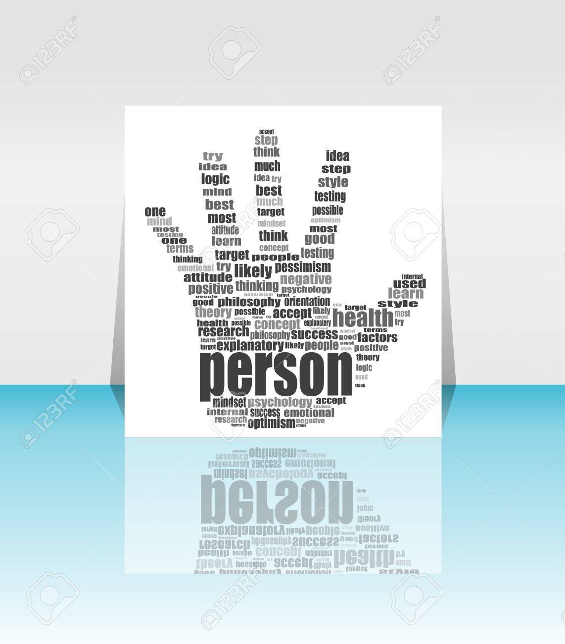 info text graphic positive thinking in word cloud head in flyer info text graphic positive thinking in word cloud head in flyer stock photo 19619950