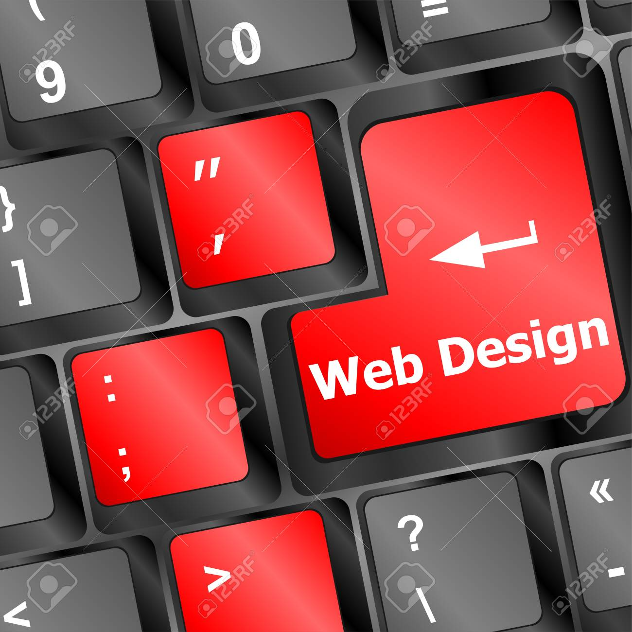 computer keyboard with word web design on enter button` Stock Photo - 19788465