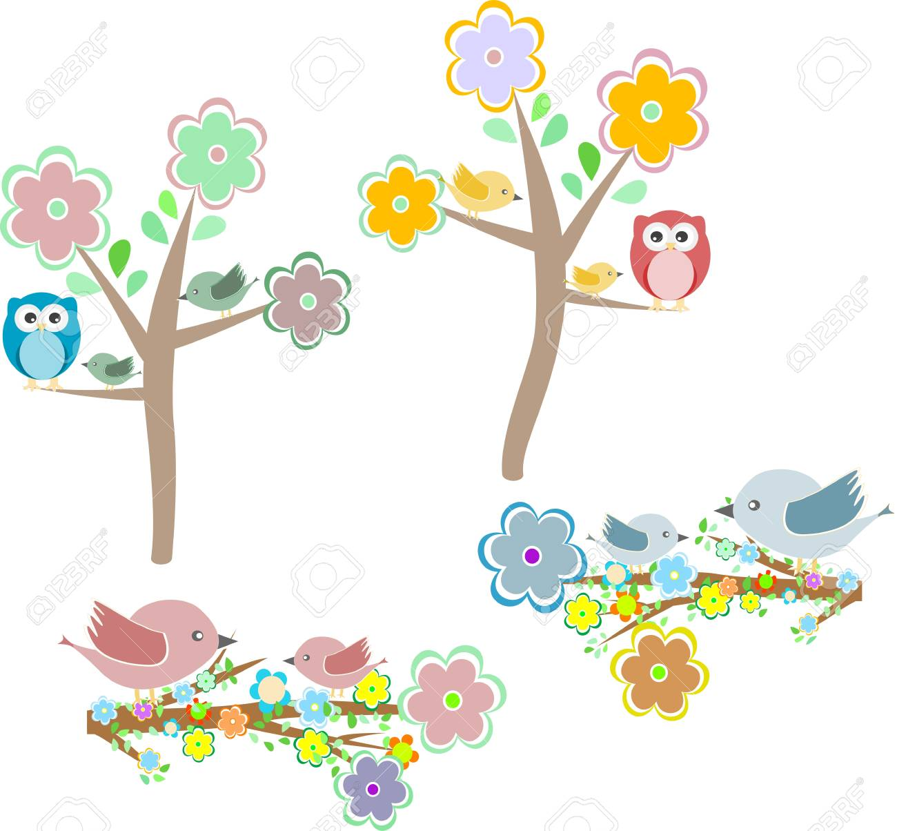 Set of autumn nature elements: owls and birds on branches and oak tree Stock Photo - 20006724
