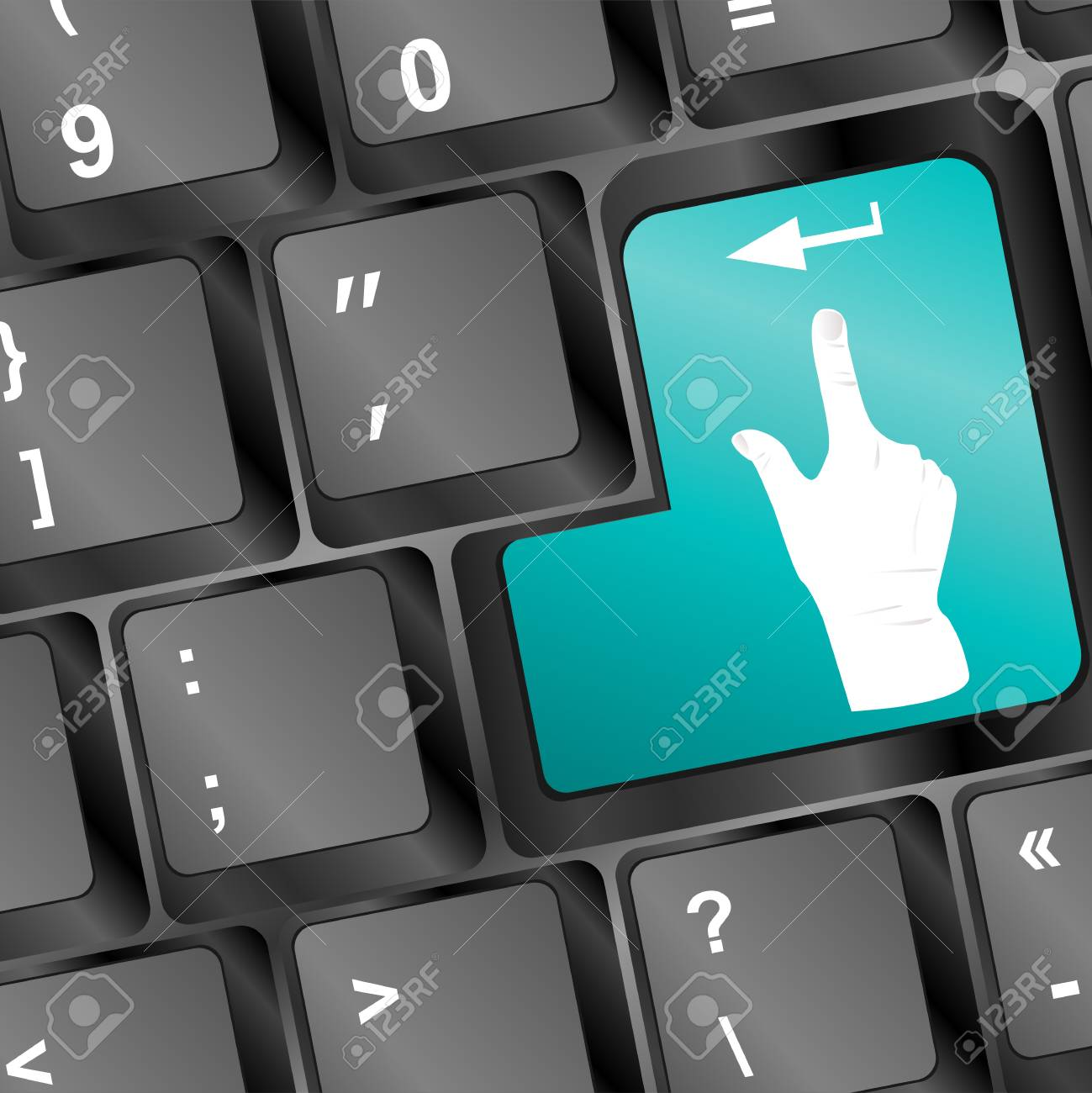 people hand on computer keyboard button Stock Photo - 21877152
