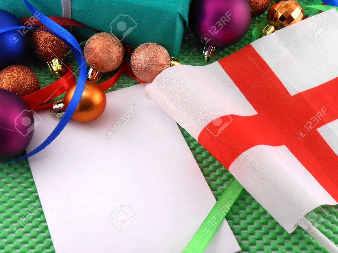 Drapeau De L\'Angleterre Avec La Décoration De Noël, Carte De ...