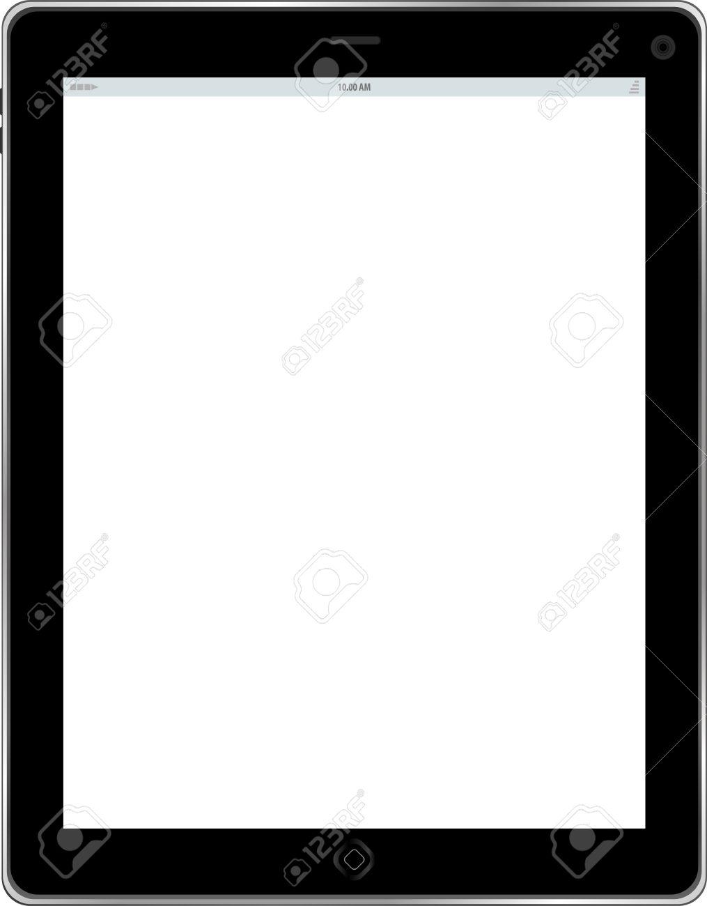 Tablet. Schwarzer Rahmen Tablet-PC Mit Weißer Bildschirm. Isoliert ...