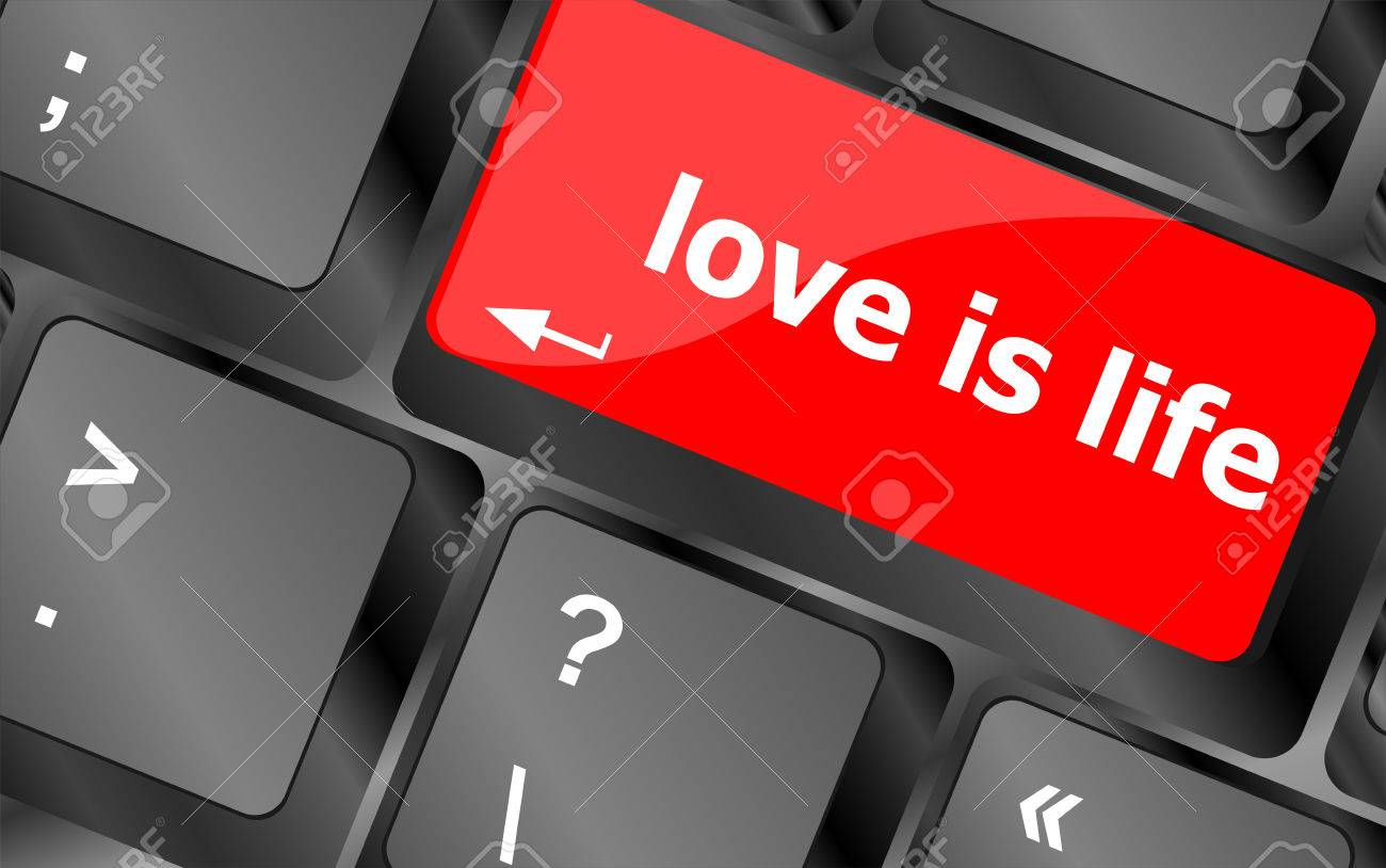 Modern keyboard with love is life text symbols stock photo picture modern keyboard with love is life text symbols stock photo 25214140 biocorpaavc Images