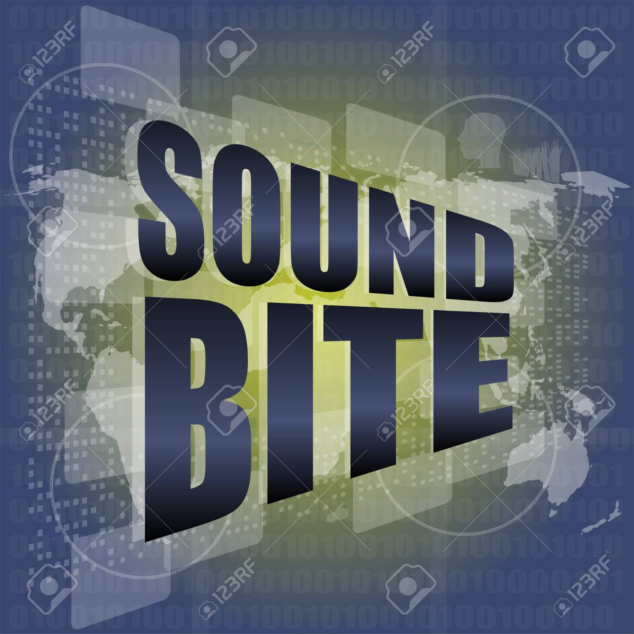 Sound bite words on digital screen background with world map stock sound bite words on digital screen background with world map stock photo 25214451 gumiabroncs Choice Image