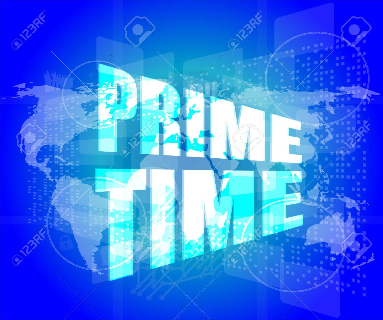 Prime time words on digital screen background with world map stock prime time words on digital screen background with world map stock photo 33402970 gumiabroncs Images