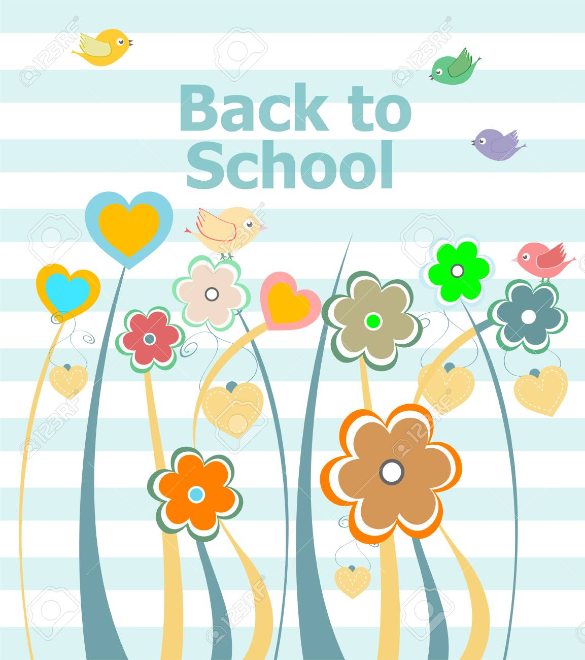Back To School Invitation Card With Flowers Education Concept Stock