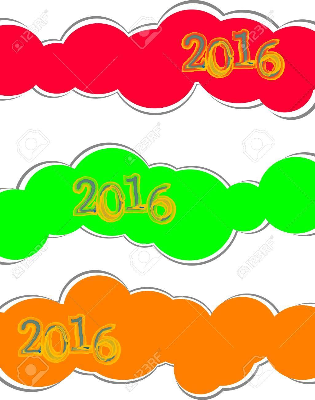 2016 Gelukkig Nieuwjaar Wenskaart Of Achtergrond Kerst Stickers