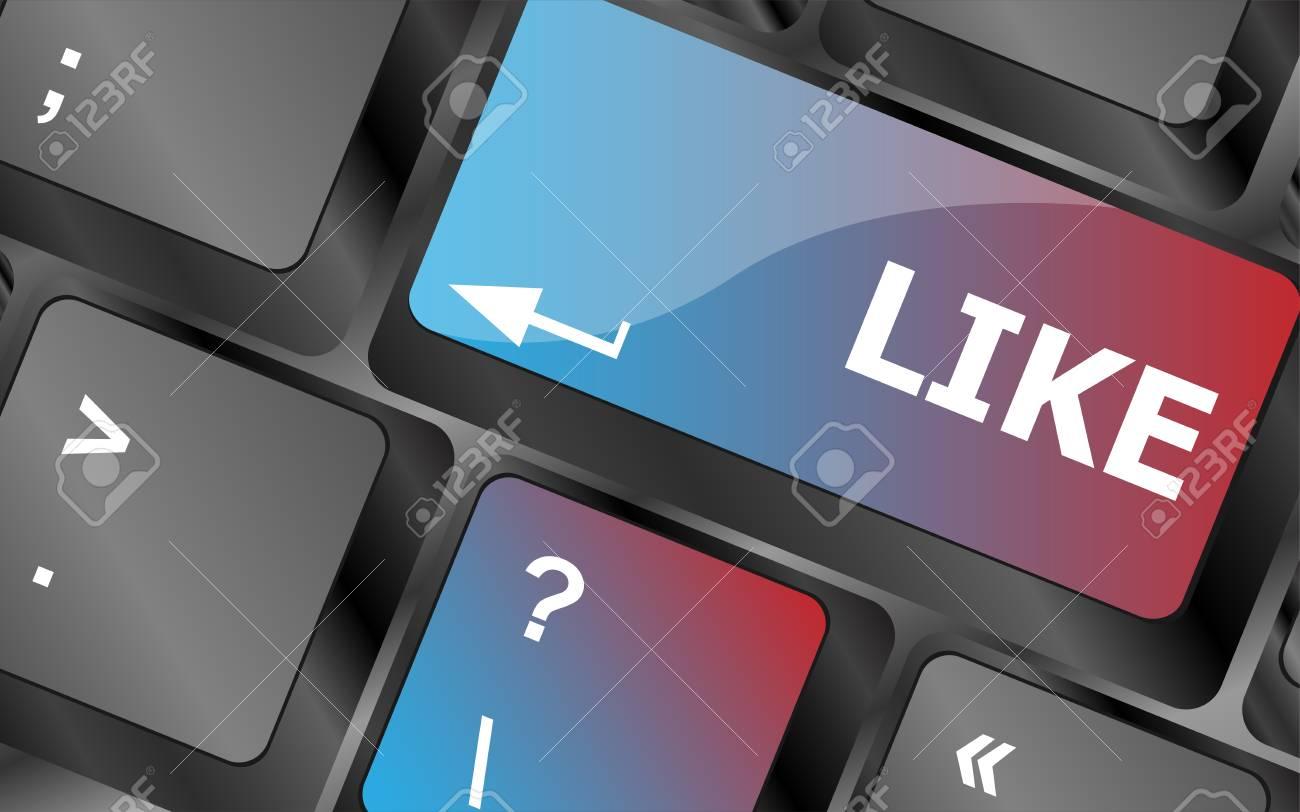 A like message on enter keyboard key for social media concepts . keyboard keys. vector illustration - 58997201