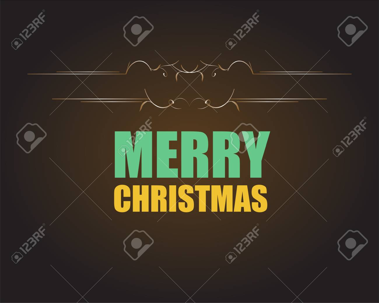 Merry Christmas And Happy New Year Lettering Greeting Card Stock