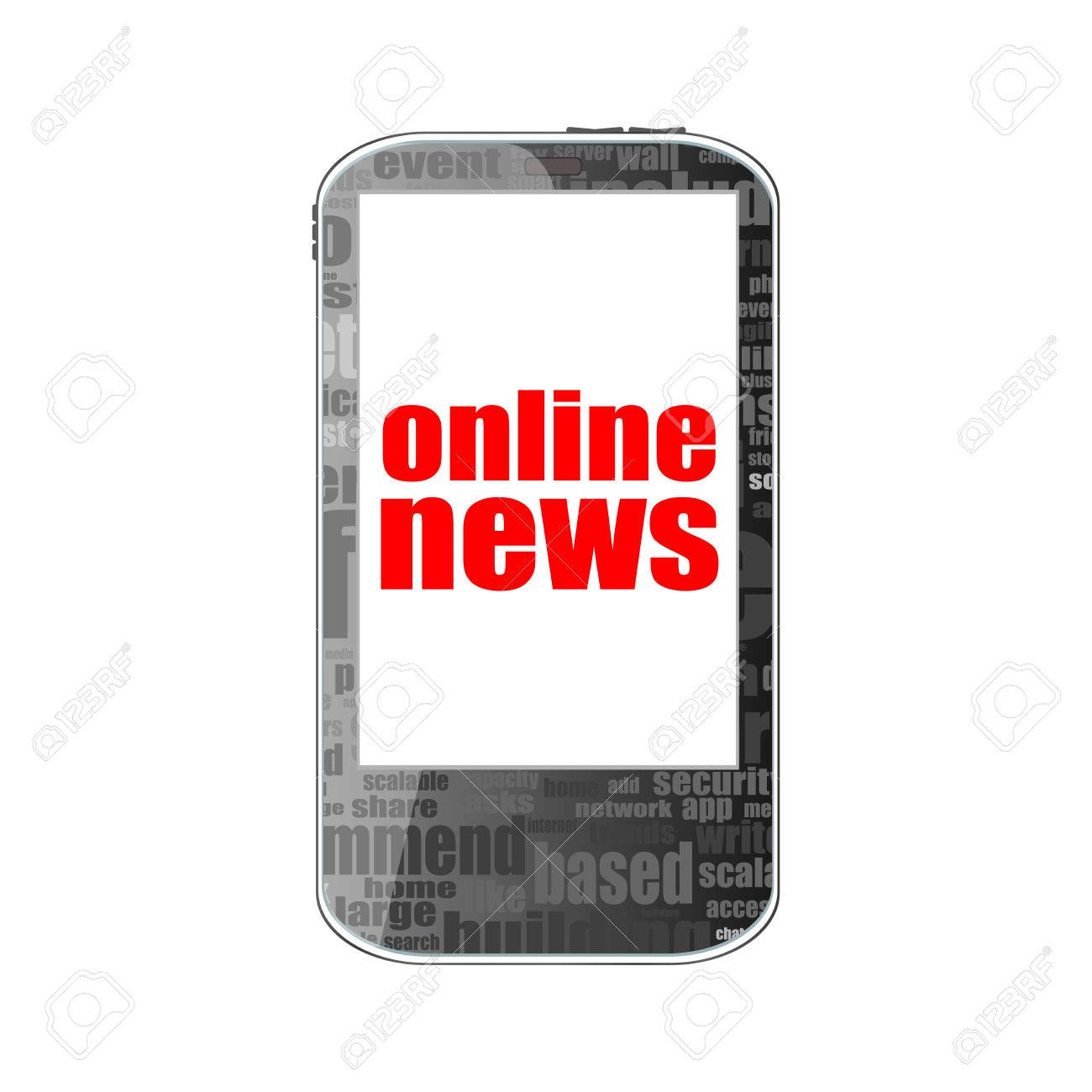7d72068e7eee57 News concept. smartphone with online mobile news on display. Mobile phone  isolated on white