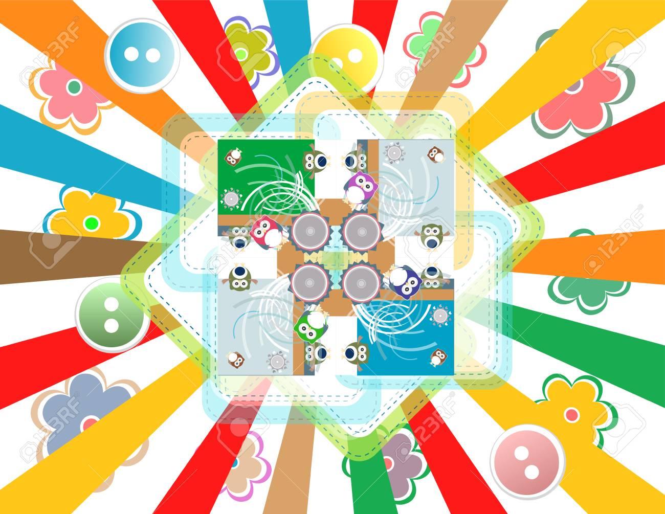 Patrón De Búho De Dibujos Animados Para Niños Tarjeta De Invitación De Cumpleaños Con Animal De Dibujos Animados Lindo