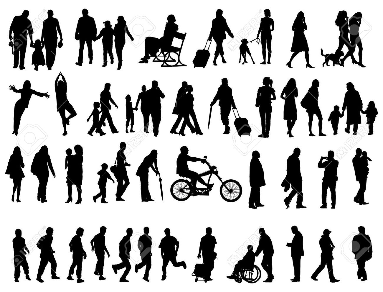 Another over fifty people black silhouettes on white background. Vector illustration. Walking families, friends, dancers,children and guys. Stock Vector - 8584577