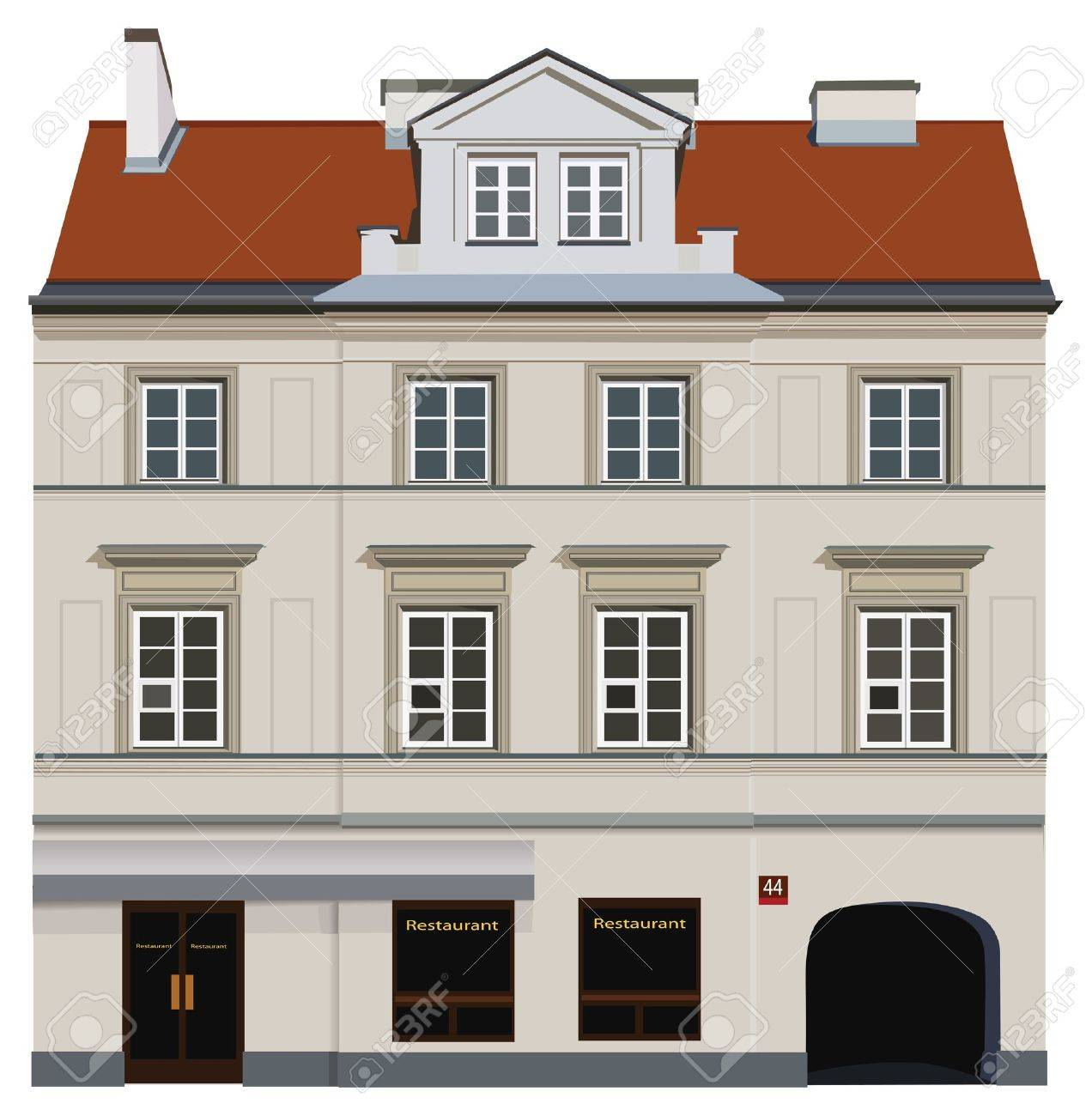Facade of building from Warsaw. Famous Nowy Swiat street. Stock Vector - 12479819