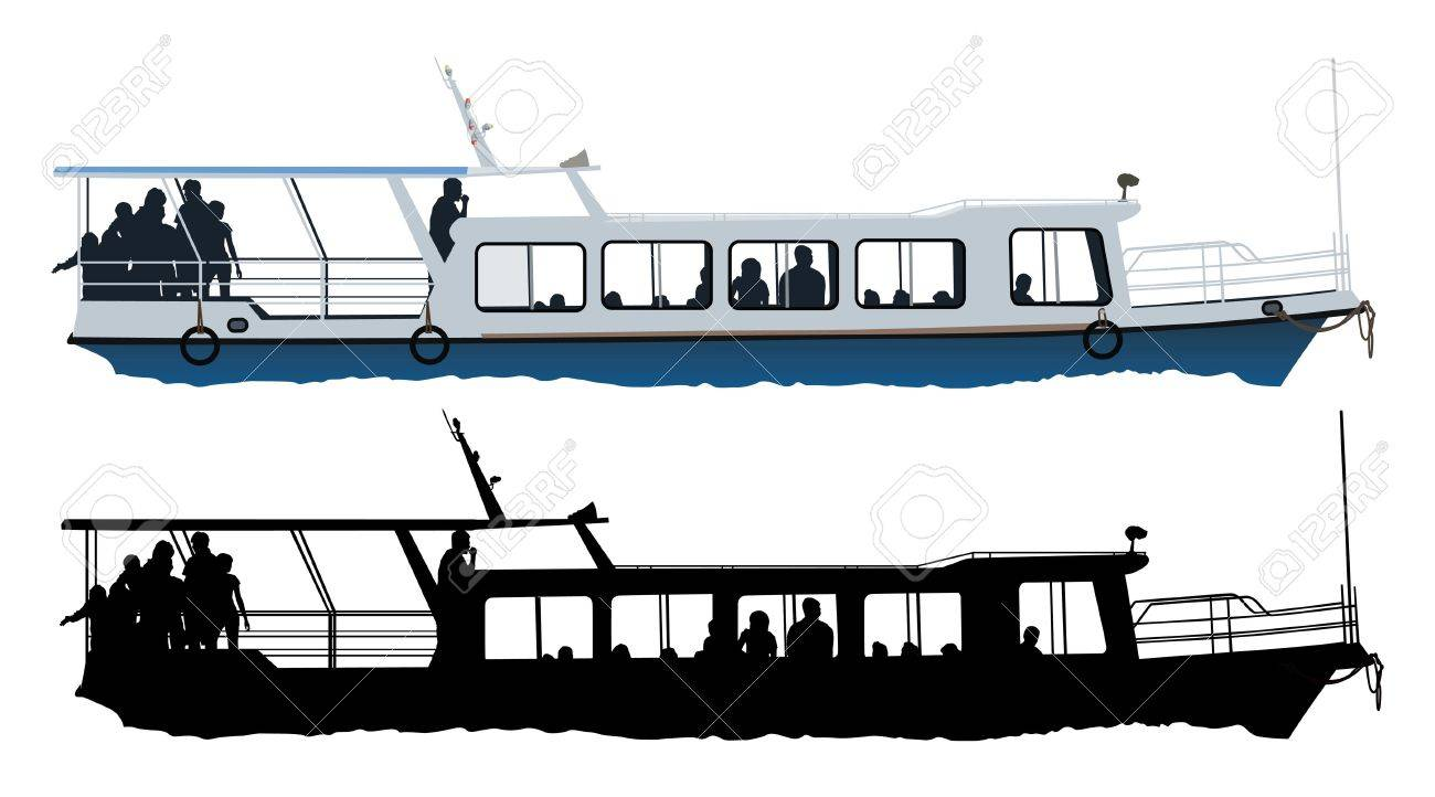 Small Passenger Ship Color Illustration On White Background Royalty ...