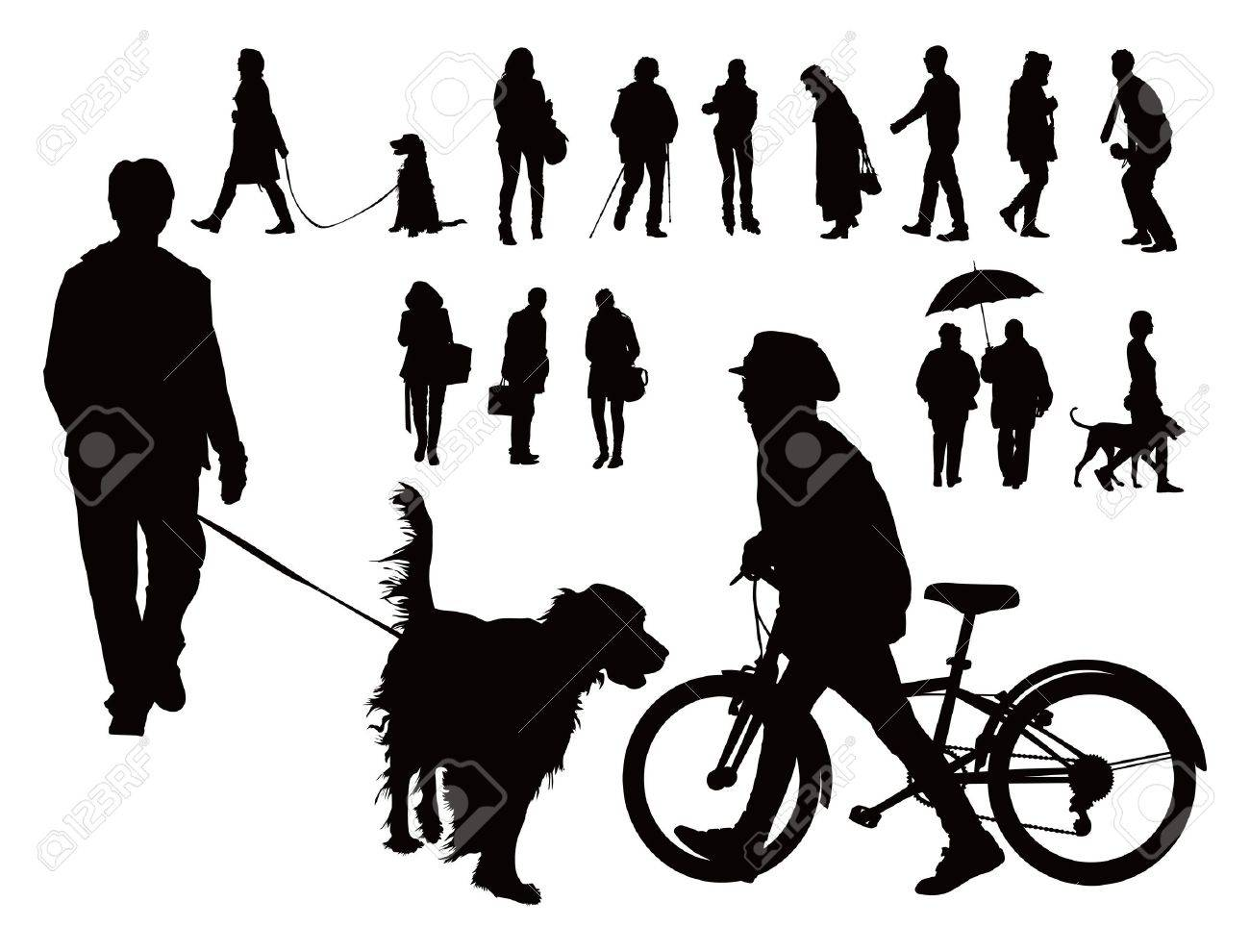 Over ten black vector silhouettes  People walking with dogs, alone and with bicycle  Spring casual clothes Stock Vector - 13058655
