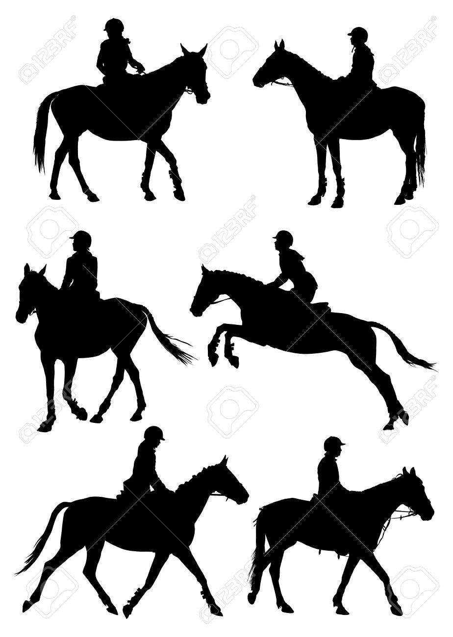 Six silhouettes of jockey riding race horse.  illustration. Stock Vector - 20100349